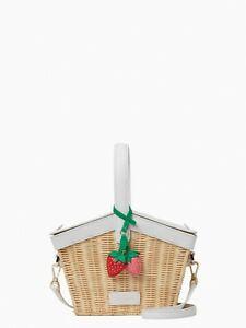 kate spade new york wild strawberries strawberry straw picnic basket