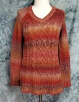 Prana Womens sz S Red Purple Cable Knit V Neck Long Sleeve Pullover Sweater
