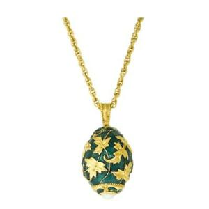 """Ritzy Gold Leaf Emerald Green Egg Charm Pendant Necklace 24"""" with 3.0"""" Extender"""
