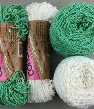 Caron COTTON TERRY Vintage Nile Green White Yarn Knit Crochet Craft Lot325