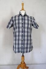 levi's Strauss Camisa de algodón manga corta negro / Azul / white check talla m