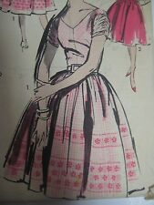 Vtg 50s Advance 9672 BELTED DRESS w/ GATHERED SLEEVES Sewing Pattern Women Sz 14