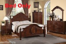 Modern 1 Piece Cal. King Size Bed Bedroom Natural Cherry Wood Finish Bedframe