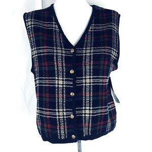Ladies Karen Scott Petites PL Sweater Vest Knit Sleeveless Cardigan Button Front
