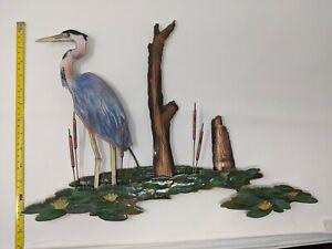 bovano wall sculpture - heron marshland bird -enamel on copper (14 x 18)