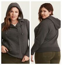 Torrid Gray Double Breasted Bomber Jacket 3X 22 24 #49794
