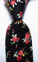 New Classic Floral Black Red White JACQUARD WOVEN Cotton Men's Tie Necktie