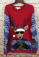 Ugly Christmas Sweater Reindeer mens Large glasses Camo Beer Pouch drunk New R1
