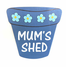 MUM'S SHED PLAQUE SIGN PERSONALISED GIFT BLUE POT SHAPE