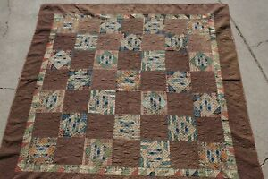 Antique Folk Art Handmade Quilt Primitive Early Hand Stitched Amish Blue & Brown