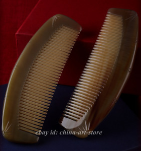 Chinese Natural Oxen Horn HandCarved Anti-Static Hair Massage Comb/Brown Tassels