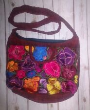 Hippie Mexican cross body bag Rust /w multicolor embroidery flower large