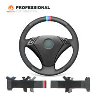 DIY Black Leather Suede Car Steering Wheel Cover for 5 Series E60 E61 2004-2010