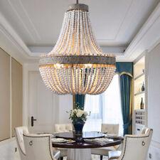 Vintage 3-Light White Wood Beads Large Chandelier Kitchen Pendant Lighting Fit