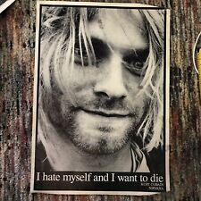 Huge Poster Kurt Cobain I Hate Myself I Want To Die Nirvana Grunge Rare 90s Vtg
