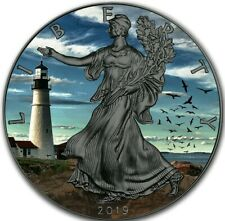 2019 USA $1 PORTLAND HEAD LIGHT  WALKING LIBERTY 1 Oz Silver Coin, Ruthenium.