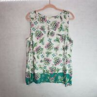 J. Jill Sleeveless Tank Top Floral Womens Size XL Blouse Shirt White Blue Pink