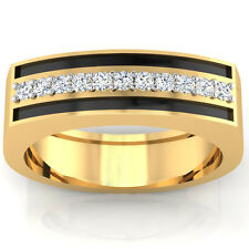 14K Yellow Gold Rings Size T Certified 0.20Ct Natural Diamond Mens Bands I-J/SI1
