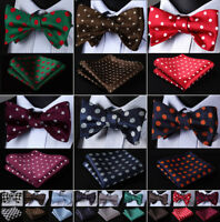Classic Polka Dot Bow Tie Woven Party Wedding Self Bow Tie handkerchief set#R06
