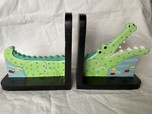 Fair Trade Children's Novelty Crocodile Wooden Book Ends From Indonesia