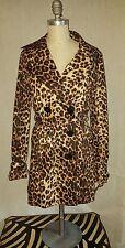Vertigo Paris Double Breasted Lined Leopard Print Trench Coat Size M EUC