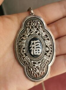 Antique Silver 900 Chinese Pendant Enamel and Dragon For Good Fortune