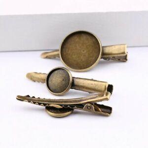 10 pcs antique bronze hair clip base 12 mm blank hairclip cabochon settings diy