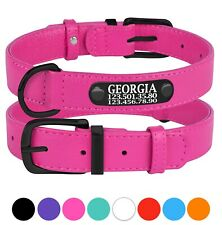 Customized Leather Dog Collars Personalized Collar Pet Name ID Small Large Dogs