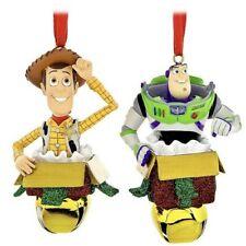 Disney Parks Toy Story Woody & Buzz Light Year Present 3D Bell Ornament Set