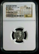 Silver Denarius of Roman Emperor Hadrian Spes Reverse NGC Ch F 6256