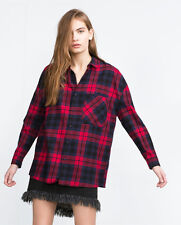 New Zara Women's Red Blue Oversized Check Flannel Button Up Shirt Small