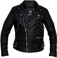 Black Classic Diamond Armoured Motorcycle Biker Leather Jackets Double Lining