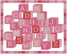 "Alphabet Girls Pink Cross Stitch Kit Sampler 12.5""x 10"""