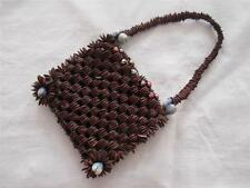 ANTIQUE EDWARDIAN CARVED COQUILLA NUT BEADED PURSE RETICULE