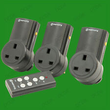 3x Black Wireless UK Plug-in Mains Socket & Remote Control Energy Saving Switch