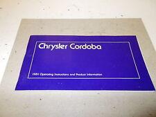 Mopar NOS Instruction Manual 81 Chrysler Cordoba