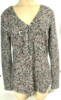 William Rast women's gray multi-color pullover tunic top L v-neck, 3/4 sleeves