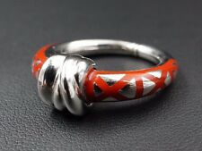 Trendy Nouvelle Bague 18k White Gold Red Enamel Band Ring Size 6 848 FI RG855