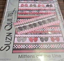 SUZN QUILTS #182 MITTENS ON THE LINE QUILT & RUNNER PATTERN JELLY ROLL FRIENDLY