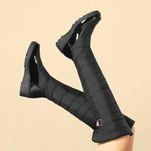 Lady Winter Warm Fur-Lined Over-The-Knee Round Toe Wedge Boots Casual Shoes