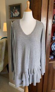 Isaac Mizrahi Cashmere Ruffle Peplum Sweater Heather Grey Plus 3X NEW
