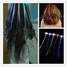 Light Up Hair Clips Extensions LED Costume Flashing Fiber Braid Barrette Rave LR