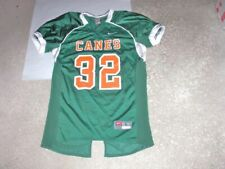 Nike MIAMI HURRICANES #32 green CANES pro style authentic Football Jersey Large