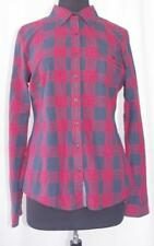 Womens Plaid Button Front Shirt Size Large Red Navy Blue Plaid Pattern NWOT