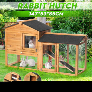 Pet Rabbit Hutch Large Metal Run Wooden Guinea Pig Cage Chicken Coop Chook House