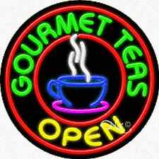 "BRAND NEW ""GOURMET TEAS OPEN"" 26x26x3 REAL NEON SIGN w/CUSTOM OPTIONS 11340"