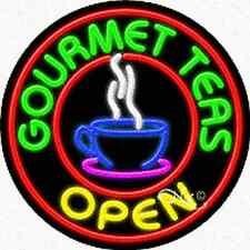 "BRAND NEW ""GOURMET TEAS OPEN"" 26x26x3 REAL NEON SIGN w/CUSTOM OPTIONS 11340"