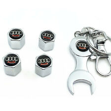 4x Auto Car Wheel Tire Tyre Valve Stems Caps Air Cover +Wrench Keychain for Audi