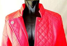 VOYELLES Damen Jacke Gr. 40, Pink in Leder-Optik, tailliert, Hingucker