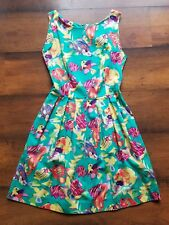 Vintage LANZ OF SALZBURG Women's Dress Fish Print Turquoise Belted A Line Size 8